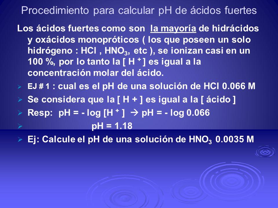 Procedimiento para calcular pH de ácidos fuertes