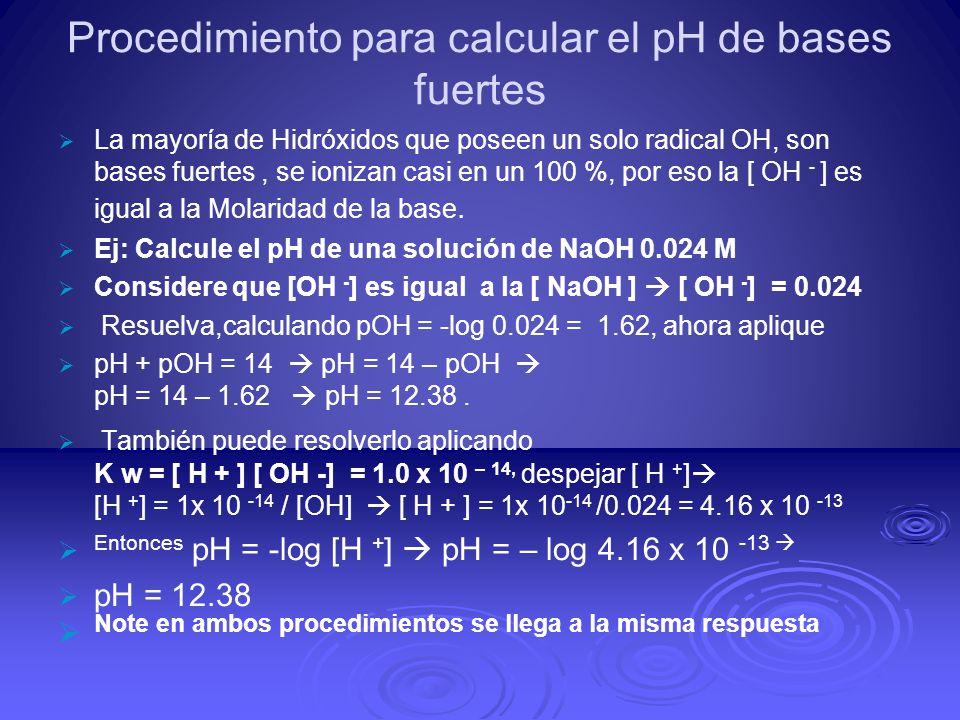 Procedimiento para calcular el pH de bases fuertes