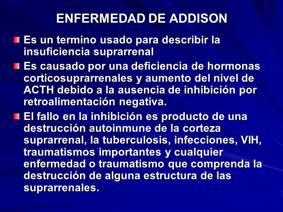 ENFERMEDAD DE ADDISON Es un termino usado para describir la insuficiencia suprarrenal.