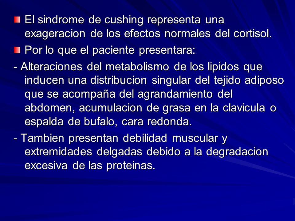 El sindrome de cushing representa una exageracion de los efectos normales del cortisol.