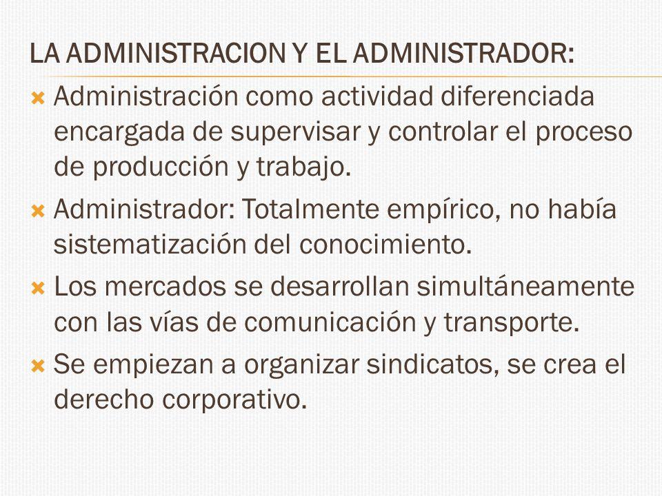 LA ADMINISTRACION Y EL ADMINISTRADOR: