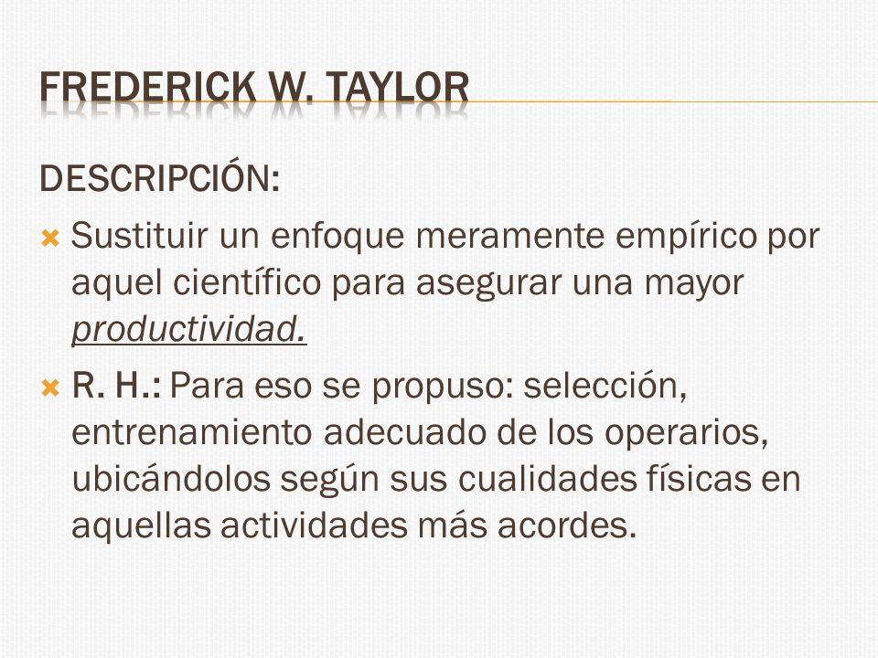 Frederick w. taylor DESCRIPCIÓN: