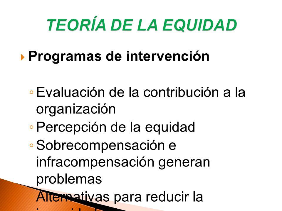 TEORÍA DE LA EQUIDAD Programas de intervención