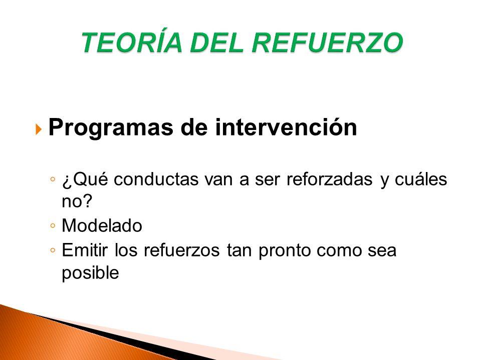 TEORÍA DEL REFUERZO Programas de intervención