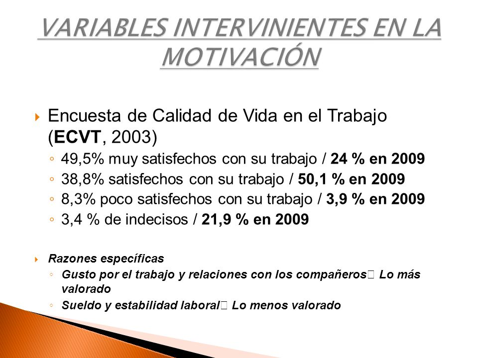VARIABLES INTERVINIENTES EN LA MOTIVACIÓN