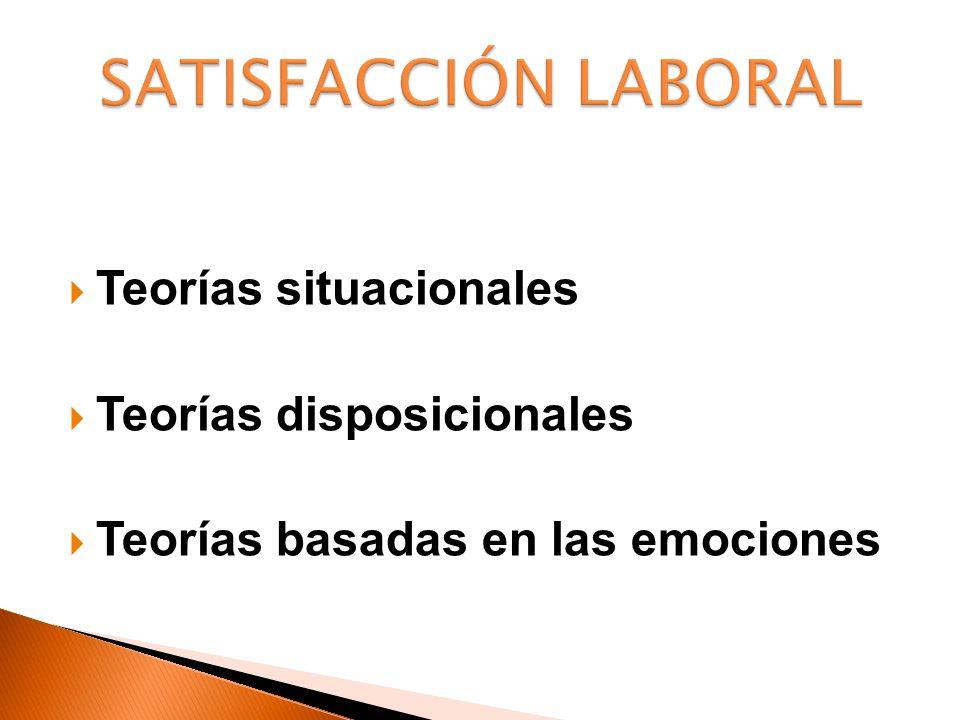 SATISFACCIÓN LABORAL Teorías situacionales Teorías disposicionales