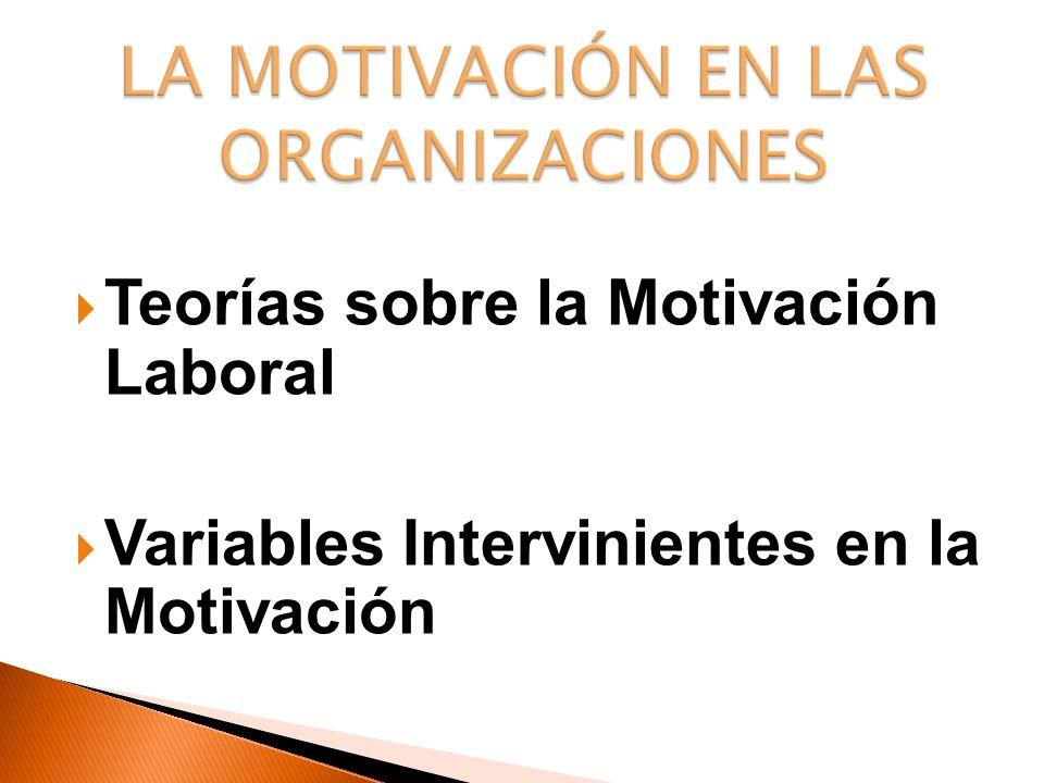 LA MOTIVACIÓN EN LAS ORGANIZACIONES