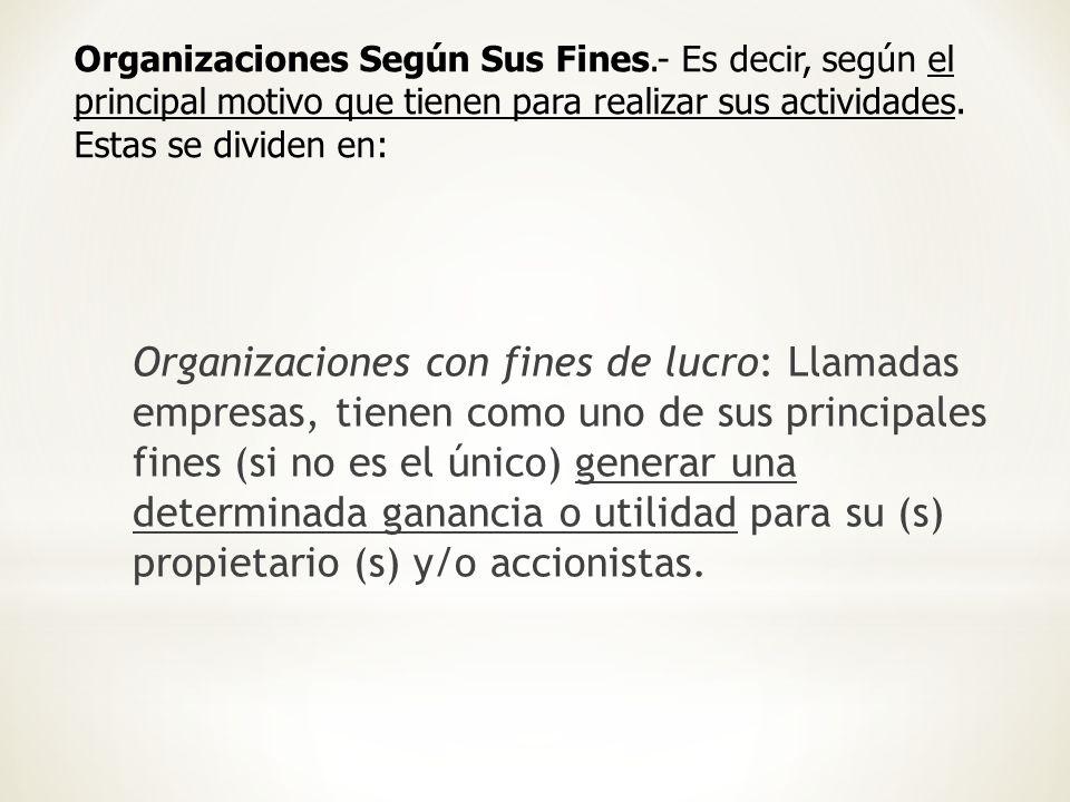 Organizaciones Según Sus Fines