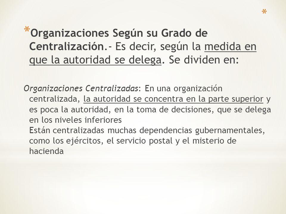 Organizaciones Según su Grado de Centralización