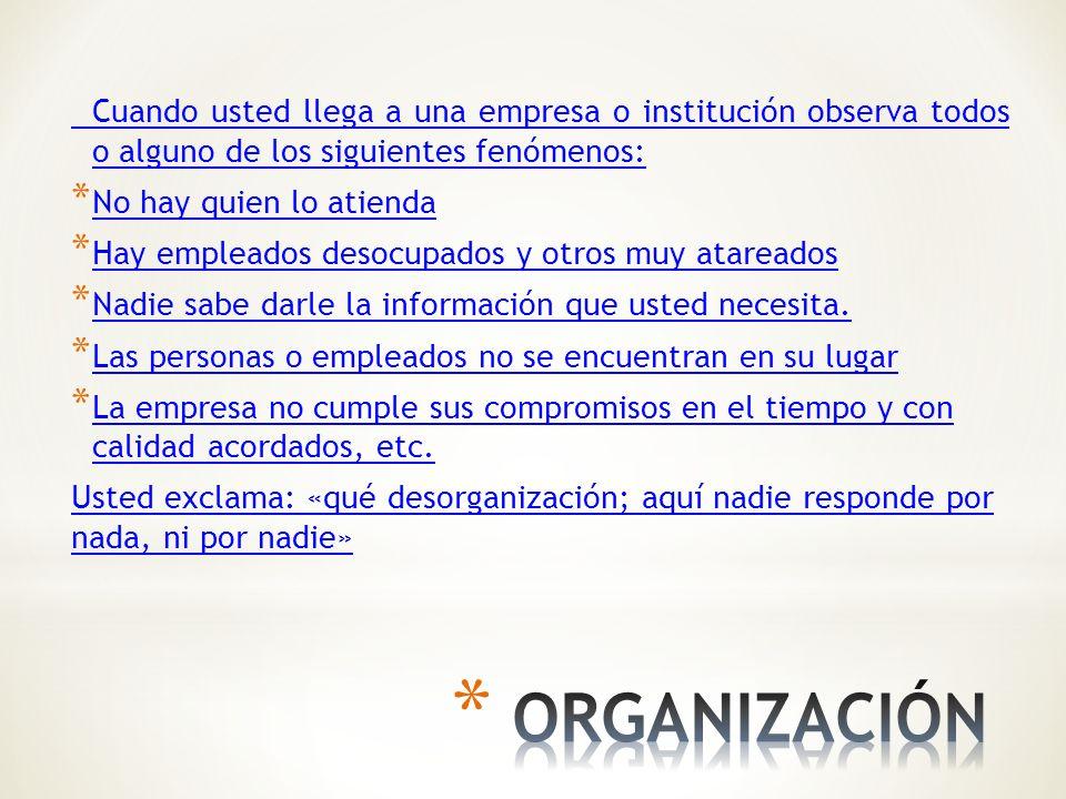 Cuando usted llega a una empresa o institución observa todos o alguno de los siguientes fenómenos: