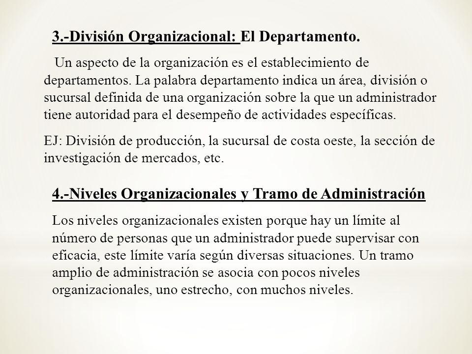 3.-División Organizacional: El Departamento.