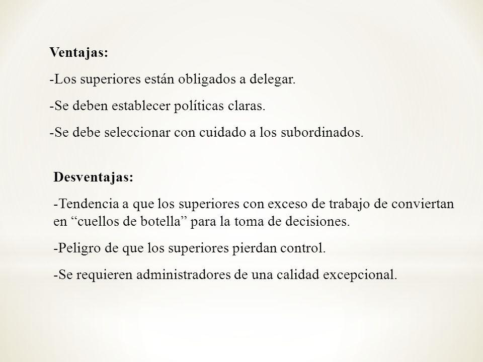 Ventajas: -Los superiores están obligados a delegar. -Se deben establecer políticas claras. -Se debe seleccionar con cuidado a los subordinados.