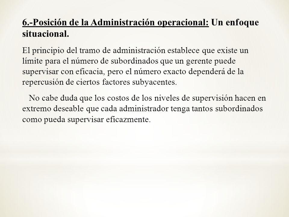 6.-Posición de la Administración operacional: Un enfoque situacional.
