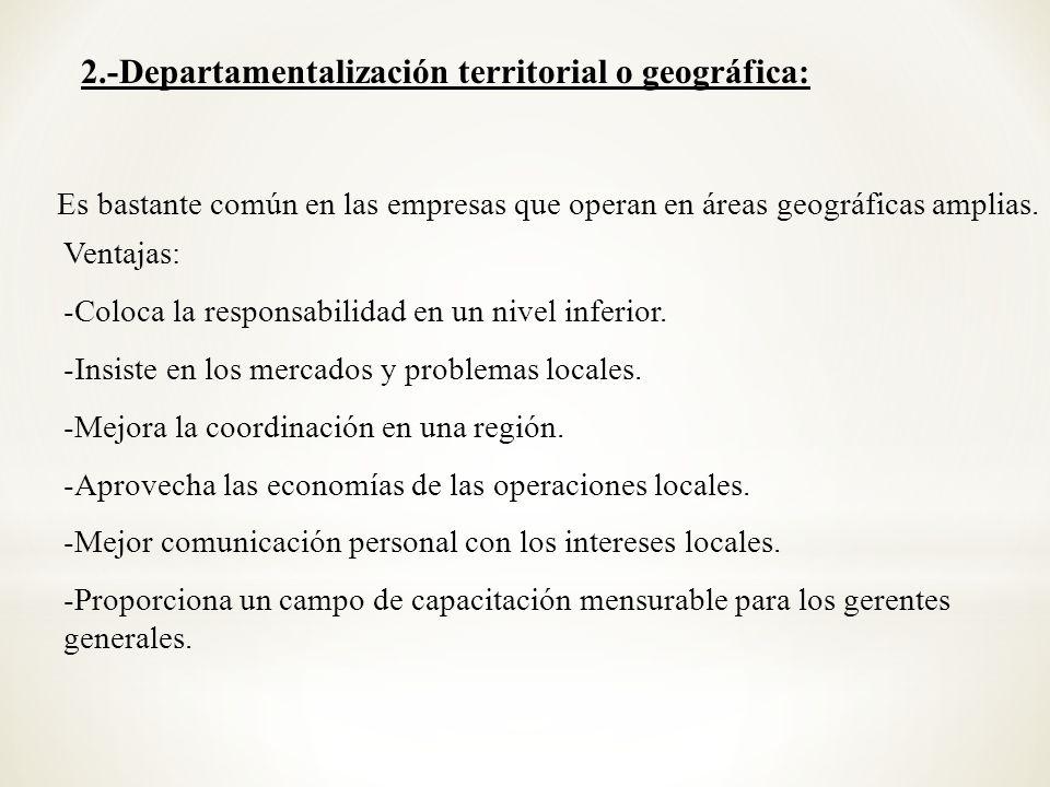 2.-Departamentalización territorial o geográfica: