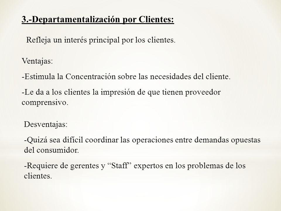 3.-Departamentalización por Clientes: