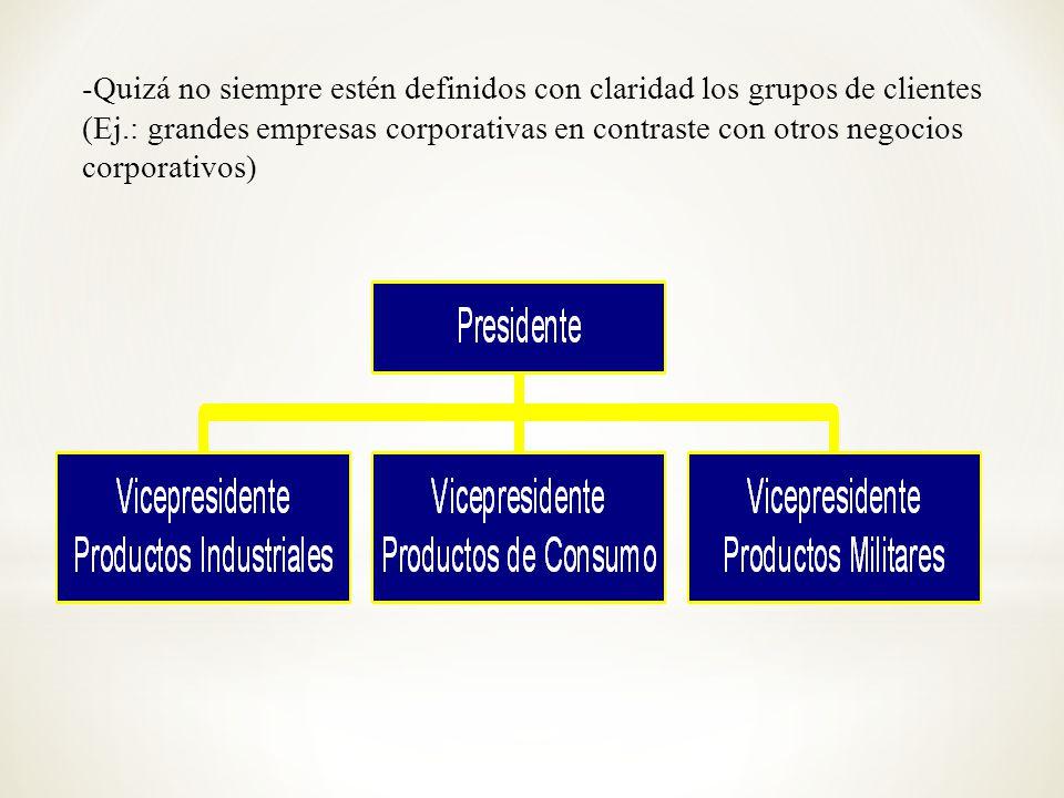 -Quizá no siempre estén definidos con claridad los grupos de clientes (Ej.: grandes empresas corporativas en contraste con otros negocios corporativos)