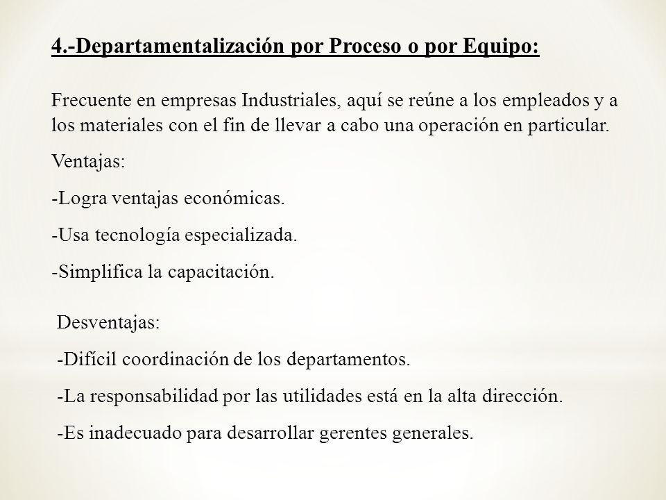 4.-Departamentalización por Proceso o por Equipo: