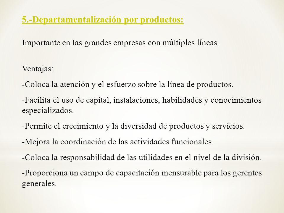 5.-Departamentalización por productos:
