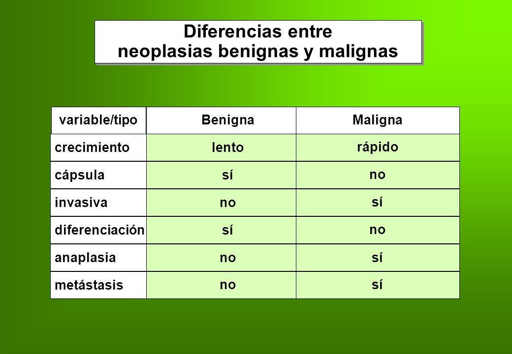neoplasias benignas y malignas