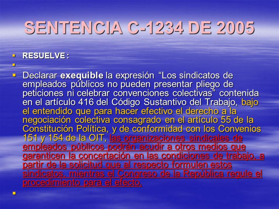SENTENCIA C-1234 DE 2005 RESUELVE :