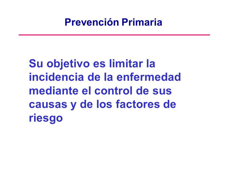 Prevención Primaria Su objetivo es limitar la incidencia de la enfermedad mediante el control de sus causas y de los factores de riesgo.