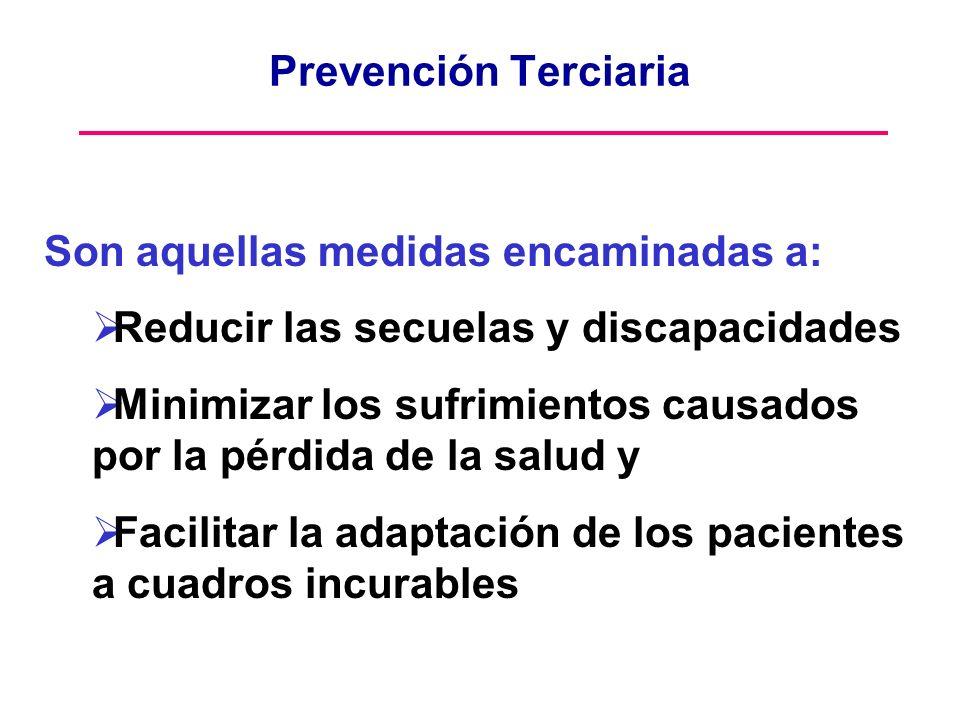 Prevención Terciaria Son aquellas medidas encaminadas a: Reducir las secuelas y discapacidades.