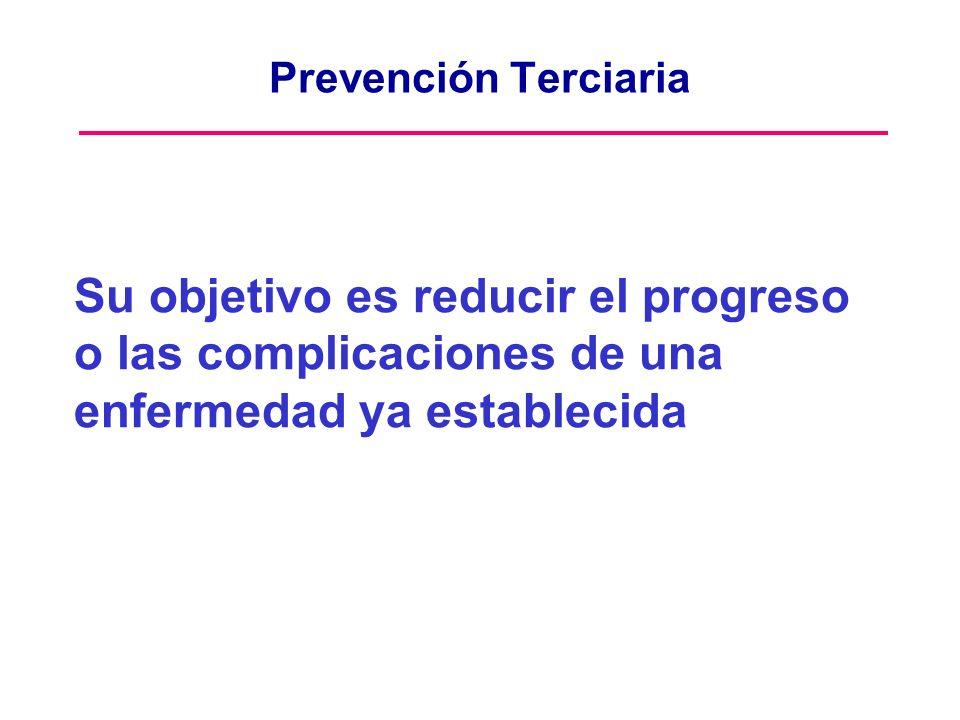 Prevención Terciaria Su objetivo es reducir el progreso o las complicaciones de una enfermedad ya establecida.