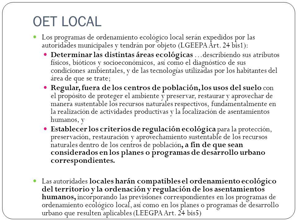 OET LOCAL Los programas de ordenamiento ecológico local serán expedidos por las autoridades municipales y tendrán por objeto (LGEEPA Art. 24 bis1):