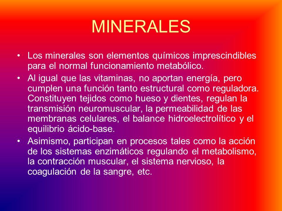 MINERALES Los minerales son elementos químicos imprescindibles para el normal funcionamiento metabólico.