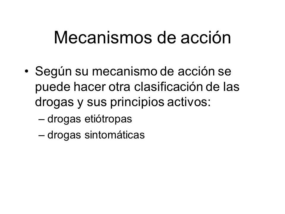 Mecanismos de acción Según su mecanismo de acción se puede hacer otra clasificación de las drogas y sus principios activos: