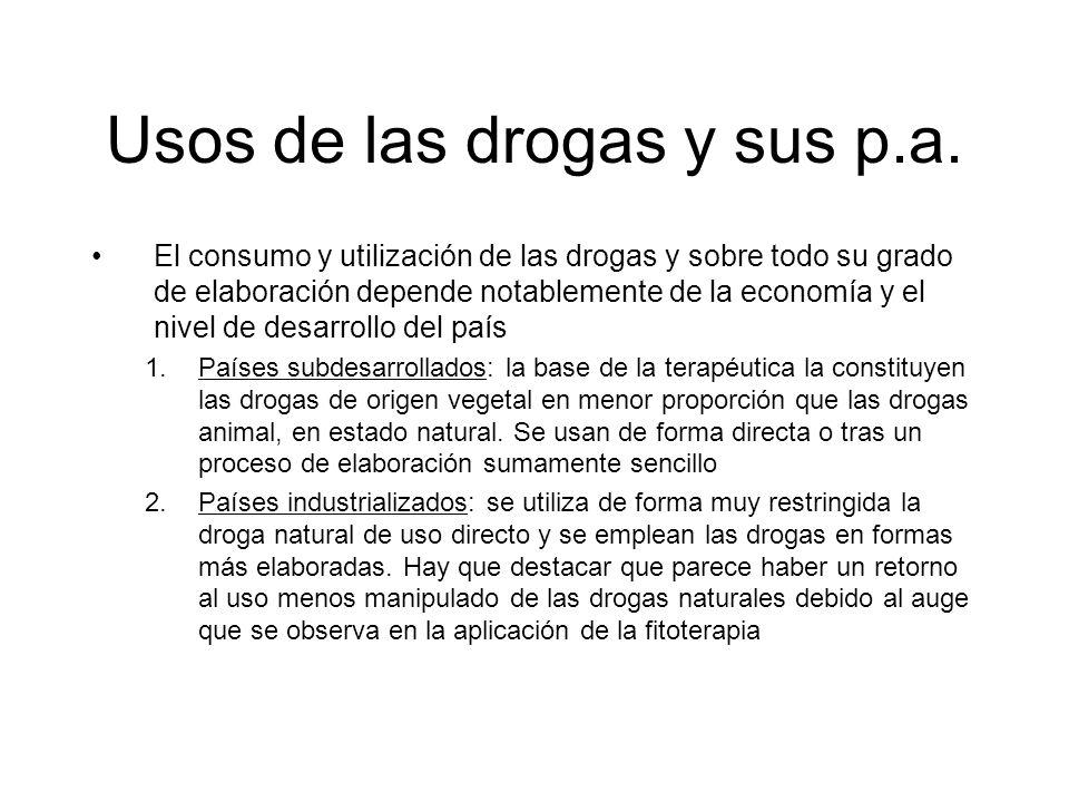 Usos de las drogas y sus p.a.