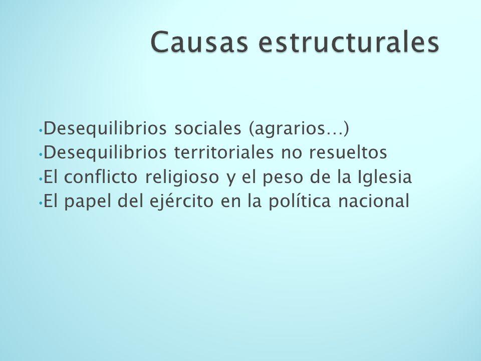 Causas estructurales Desequilibrios sociales (agrarios…)