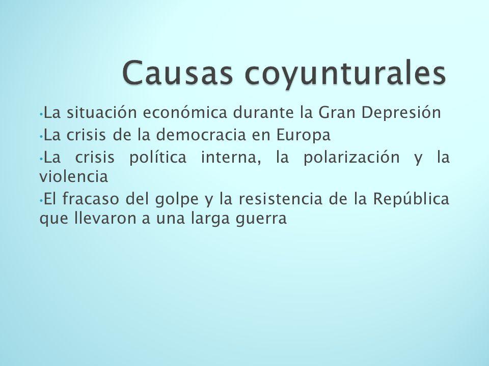 Causas coyunturales La situación económica durante la Gran Depresión