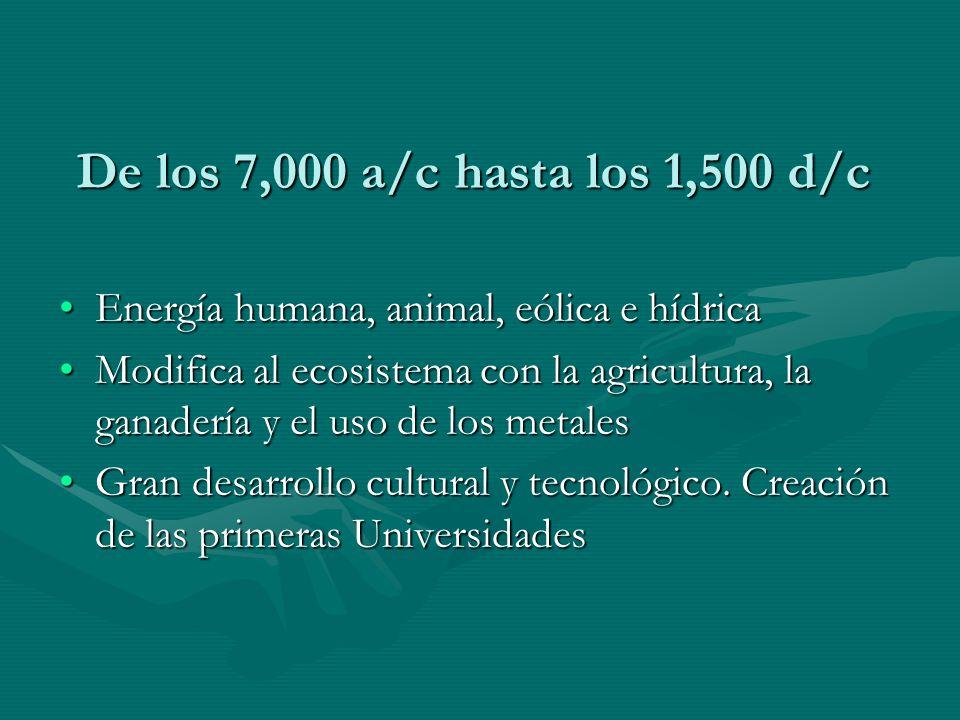 De los 7,000 a/c hasta los 1,500 d/c Energía humana, animal, eólica e hídrica.