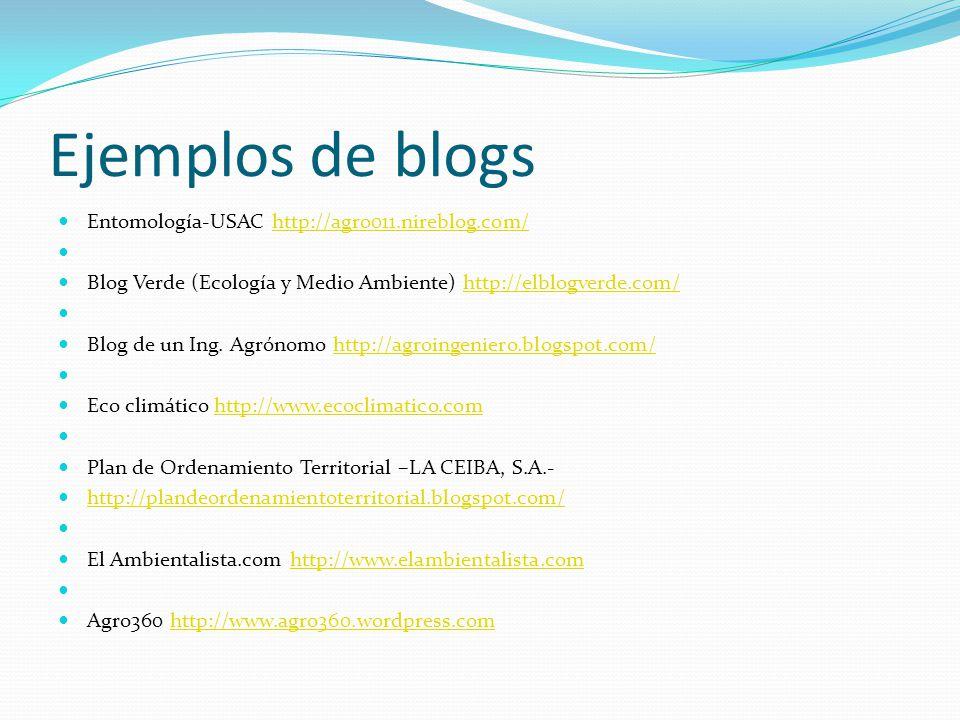 Ejemplos de blogs Entomología-USAC http://agro011.nireblog.com/