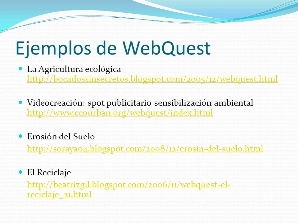 Ejemplos de WebQuest La Agricultura ecológica http://bocadossinsecretos.blogspot.com/2005/12/webquest.html.