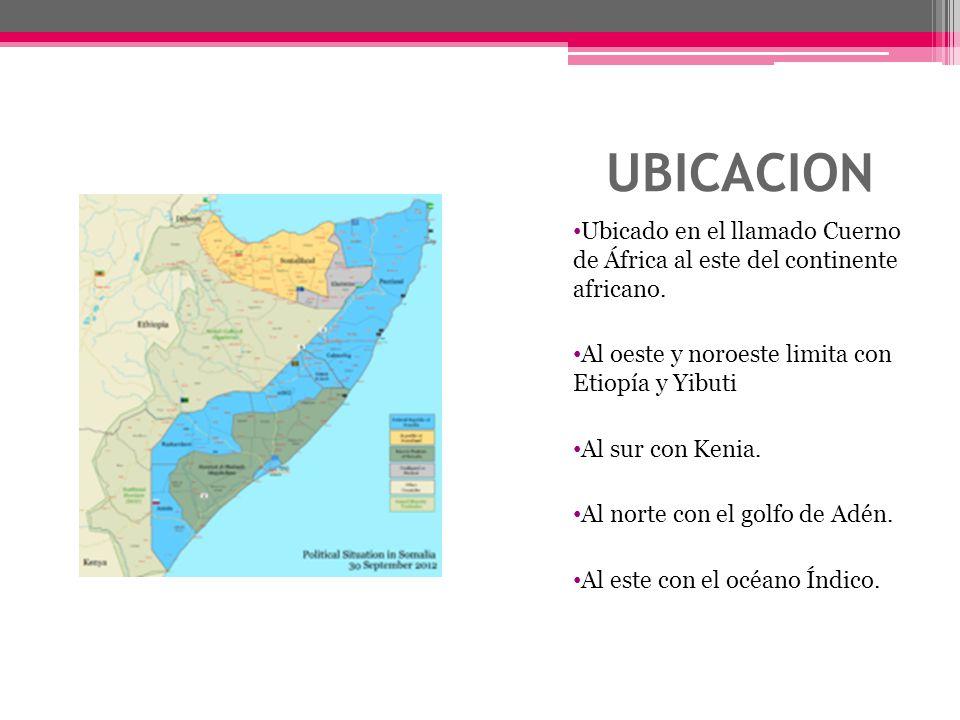 UBICACION Ubicado en el llamado Cuerno de África al este del continente africano. Al oeste y noroeste limita con Etiopía y Yibuti.
