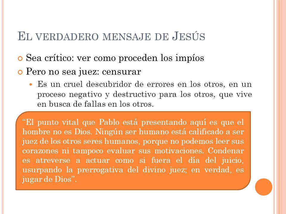 El verdadero mensaje de Jesús