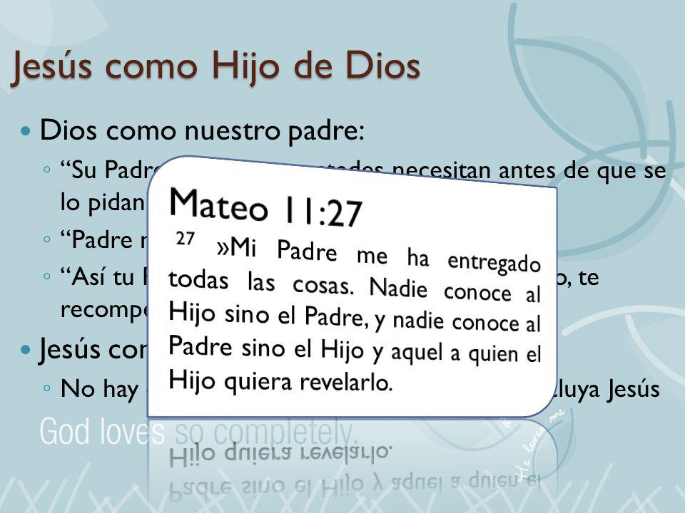 Jesús como Hijo de Dios Mateo 11:27 Dios como nuestro padre: