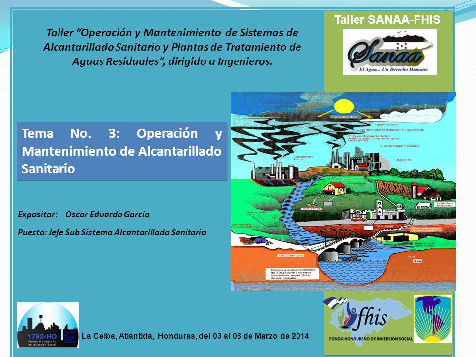 Tema No. 3: Operación y Mantenimiento de Alcantarillado Sanitario