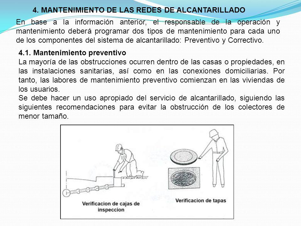 4. MANTENIMIENTO DE LAS REDES DE ALCANTARILLADO