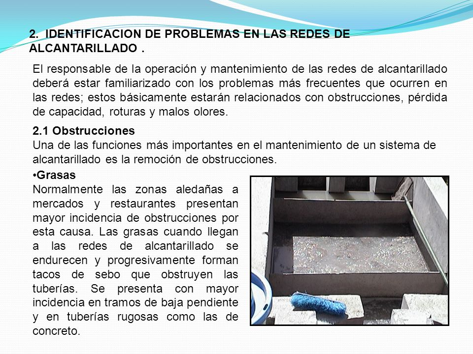 2. IDENTIFICACION DE PROBLEMAS EN LAS REDES DE ALCANTARILLADO .