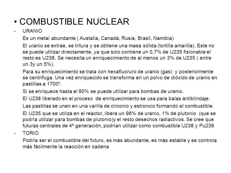 COMBUSTIBLE NUCLEAR URANIO