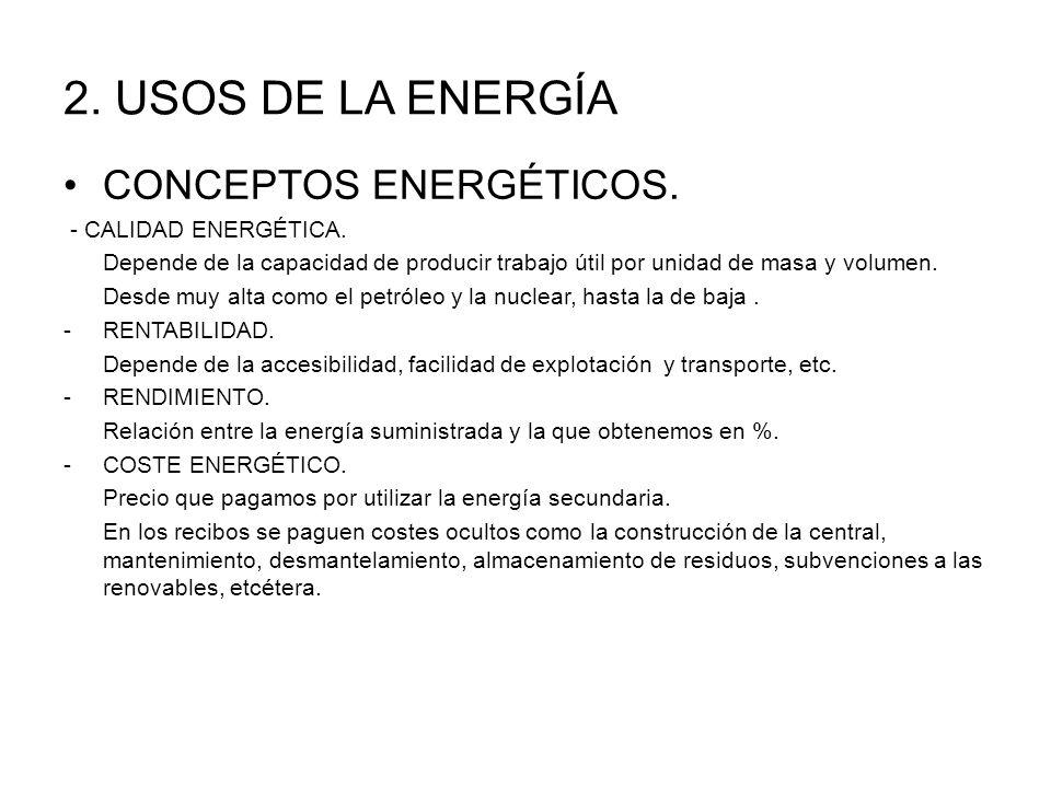 2. USOS DE LA ENERGÍA CONCEPTOS ENERGÉTICOS. - CALIDAD ENERGÉTICA.