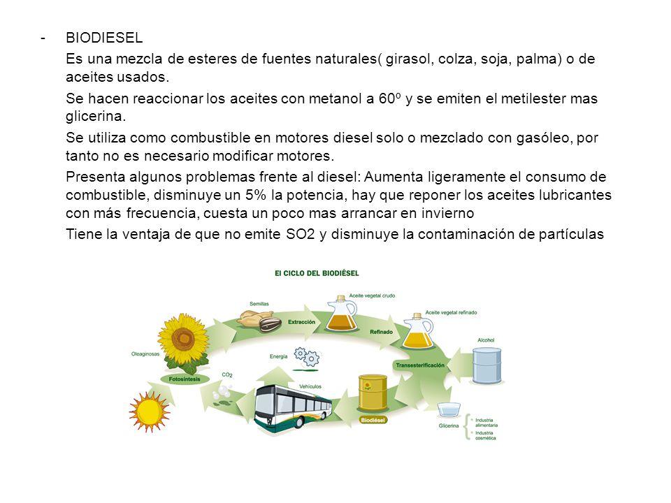 BIODIESEL Es una mezcla de esteres de fuentes naturales( girasol, colza, soja, palma) o de aceites usados.