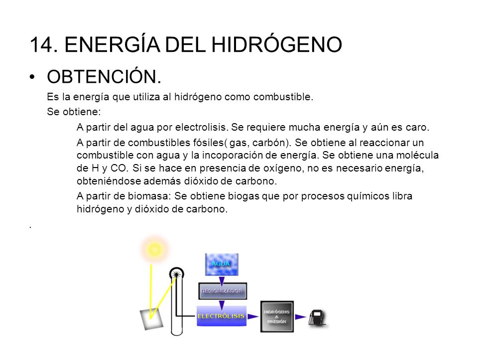14. ENERGÍA DEL HIDRÓGENO OBTENCIÓN.