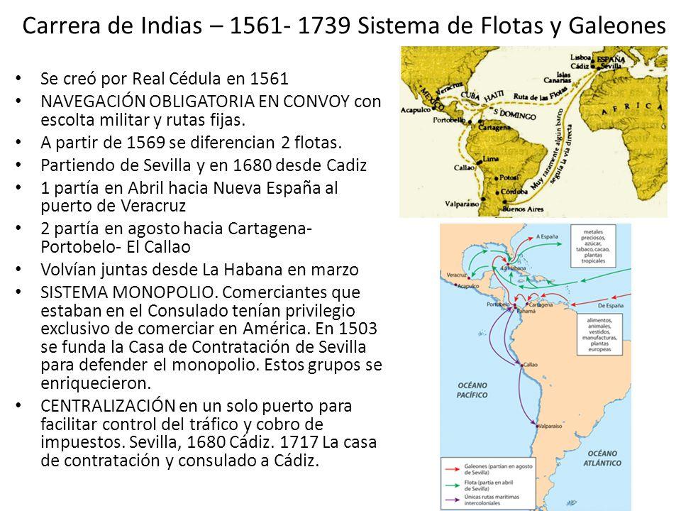 Carrera de Indias – 1561- 1739 Sistema de Flotas y Galeones
