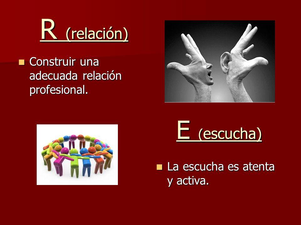 R (relación) E (escucha) Construir una adecuada relación profesional.