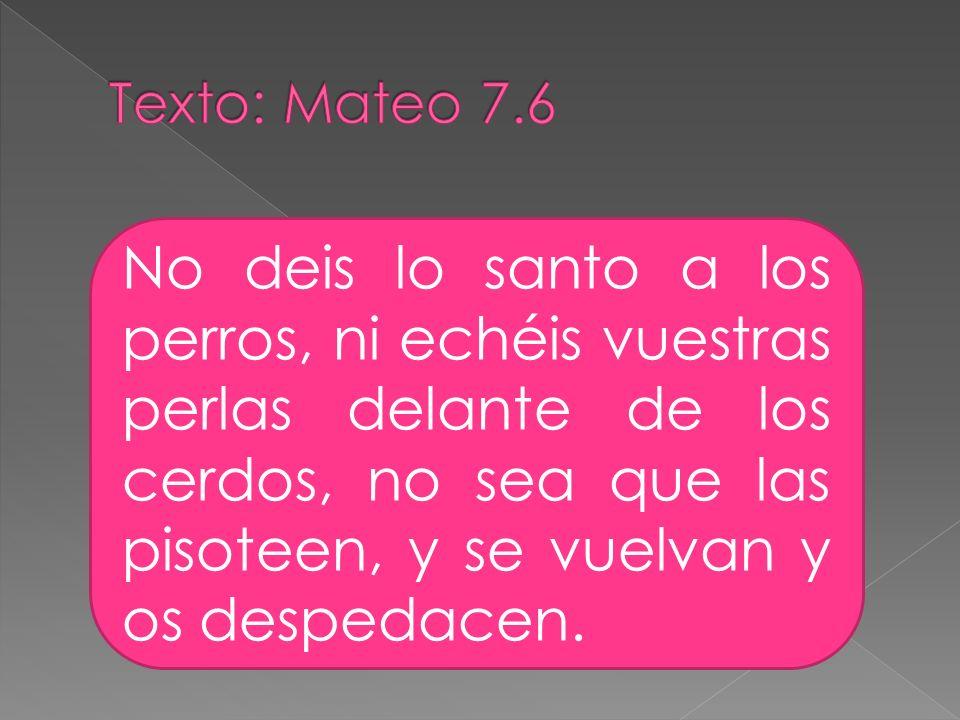 Texto: Mateo 7.6