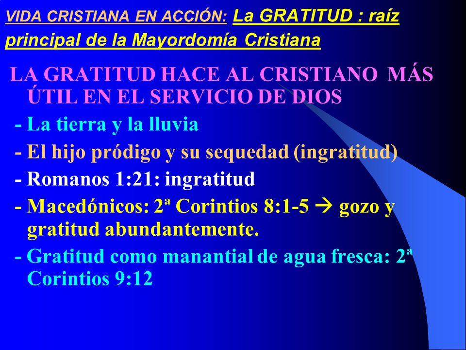 LA GRATITUD HACE AL CRISTIANO MÁS ÚTIL EN EL SERVICIO DE DIOS